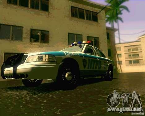 Ford Crown Victoria 2003 NYPD police V2.0 para la visión correcta GTA San Andreas