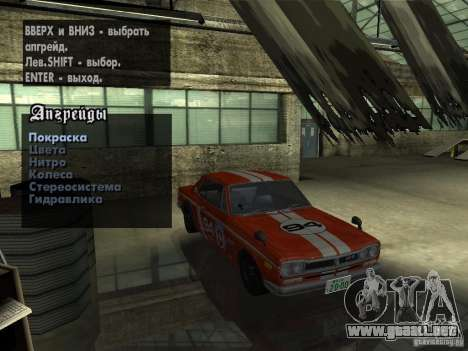 Nissan Skyline 2000 GT-R para la vista superior GTA San Andreas