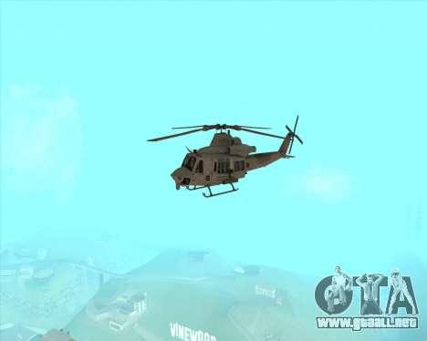 UH-1 Iroquois para GTA San Andreas vista hacia atrás