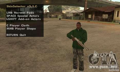 Skin Selector v2.1 para GTA San Andreas segunda pantalla