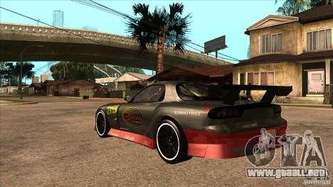 Mazda RX7 Tuned para GTA San Andreas vista posterior izquierda