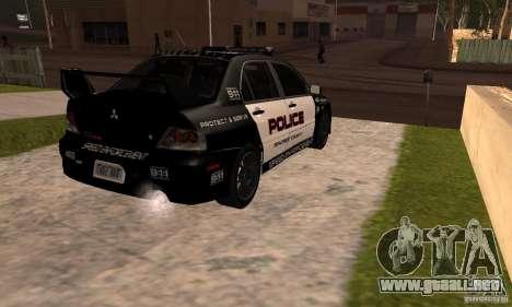 Mitsubishi Lancer Evo VIII MR Police para GTA San Andreas left
