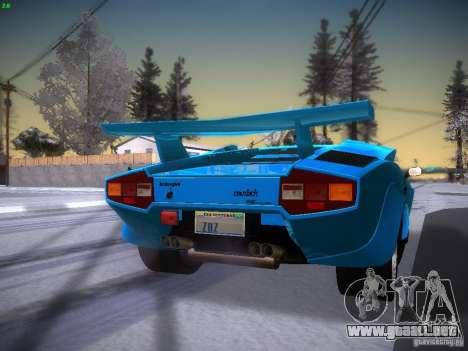 Lamborghini Countach LP5000 para GTA San Andreas vista posterior izquierda