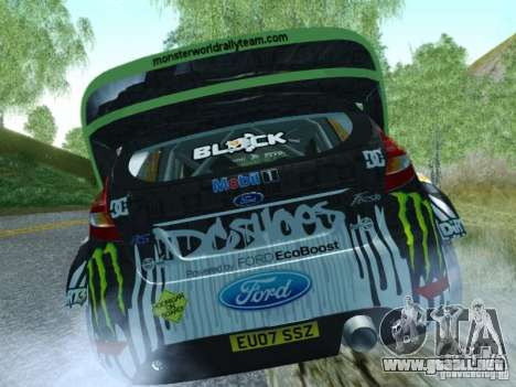 Ford Fiesta Ken Block Dirt 3 para GTA San Andreas vista posterior izquierda
