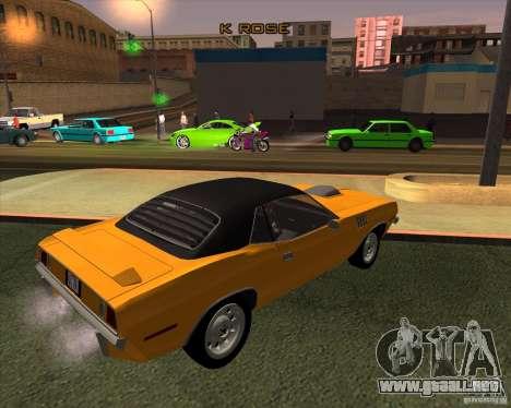 Plymouth Barracuda para GTA San Andreas vista posterior izquierda