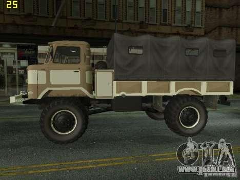 GAZ 66 desfile para GTA San Andreas vista posterior izquierda
