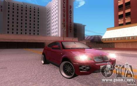 BMW X6 Tuning para GTA San Andreas vista posterior izquierda