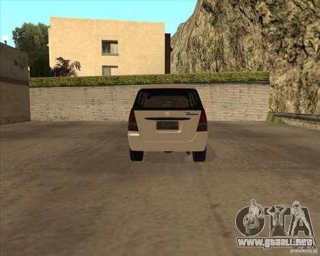 Toyota Innova para GTA San Andreas vista hacia atrás