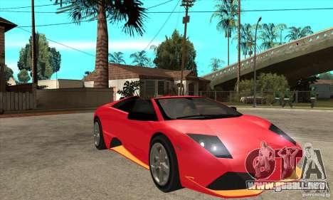 Lamborghini Murcielago LP650 para GTA San Andreas vista hacia atrás