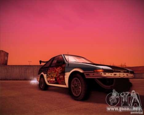 Toyota Corolla AE86 StreetAttack para la visión correcta GTA San Andreas