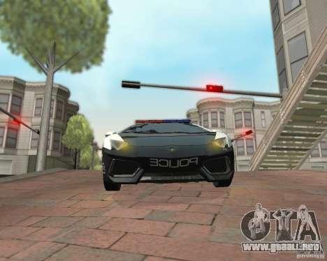 Lamborghini Aventador LP700-4 Police para GTA San Andreas vista posterior izquierda