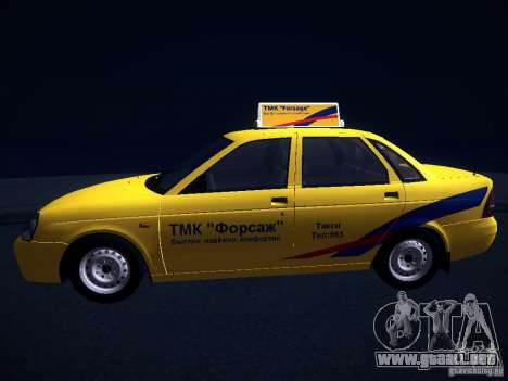 LADA Priora 2170 Taxi TMK Afterburner para GTA San Andreas vista hacia atrás