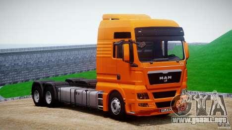 MAN TGX V8 6X4 para GTA 4 vista hacia atrás