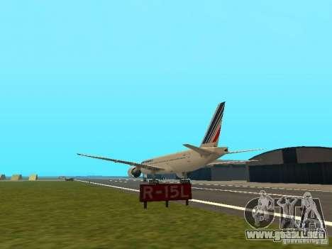 Boeing 777-200 Air France para GTA San Andreas vista posterior izquierda