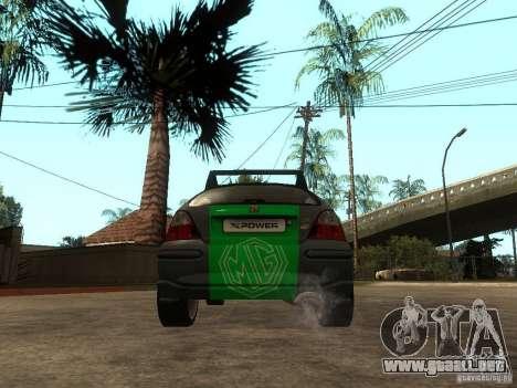 Rover MG ZR EX258 para GTA San Andreas vista posterior izquierda