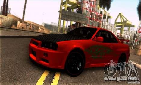 Nissan Skyline R34 GT-R Tunable para GTA San Andreas vista hacia atrás