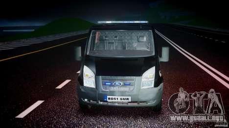 Ford Transit SWAT [ELS] para GTA 4 vista superior