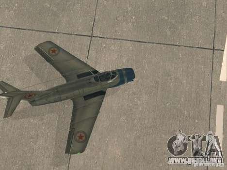 MiG 15 con armas para la visión correcta GTA San Andreas
