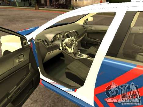 Mitsubishi Lancer X Police Indonesia para GTA San Andreas vista posterior izquierda