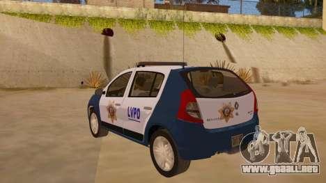 Renault Sandero Police LV para GTA San Andreas vista posterior izquierda