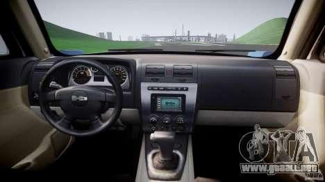 Hummer H3 para GTA 4 vista hacia atrás