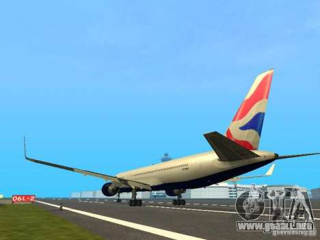 Boeing 767-300 British Airways para GTA San Andreas vista posterior izquierda