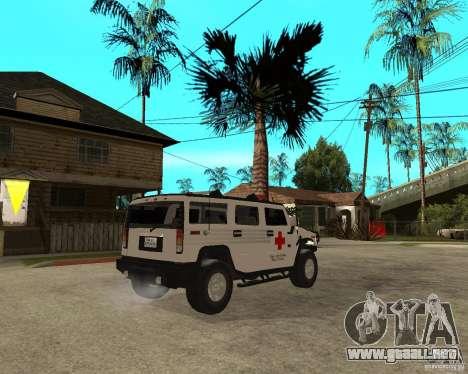 AMG H2 HUMMER - RED CROSS (ambulance) para GTA San Andreas vista posterior izquierda