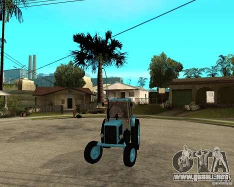 Tractor Belarus 80.1 y remolque para GTA San Andreas vista hacia atrás