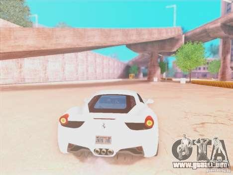 Ferrari 458 2010 para GTA San Andreas vista hacia atrás