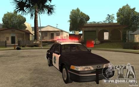 Ford Crown Victoria SFPD 1992 para GTA San Andreas vista hacia atrás