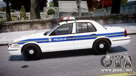 Ford Crown Victoria Croatian Police Unit para GTA 4 left
