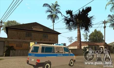 Volkswagen Transporter T4 German Police para la visión correcta GTA San Andreas