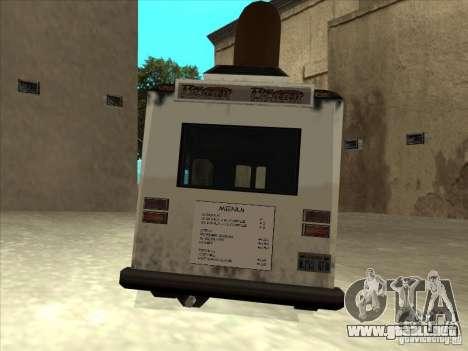 Donut Van para GTA San Andreas vista hacia atrás