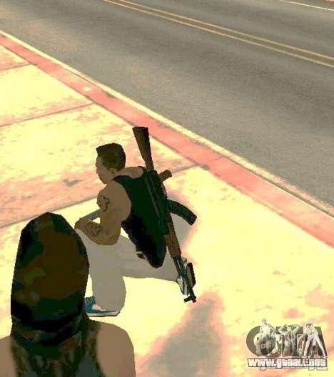 Armas en el cuerpo para GTA San Andreas sucesivamente de pantalla