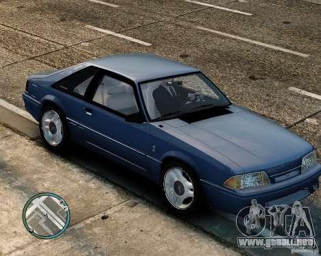 Ford Mustang SVT Cobra R 1993 para GTA 4 vista hacia atrás