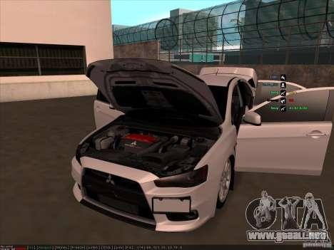 Mitsubishi Lancer Evolution X para la vista superior GTA San Andreas