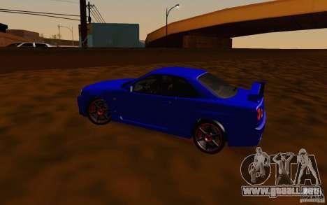 Nissan Skyline R34 GT-R V2 para visión interna GTA San Andreas