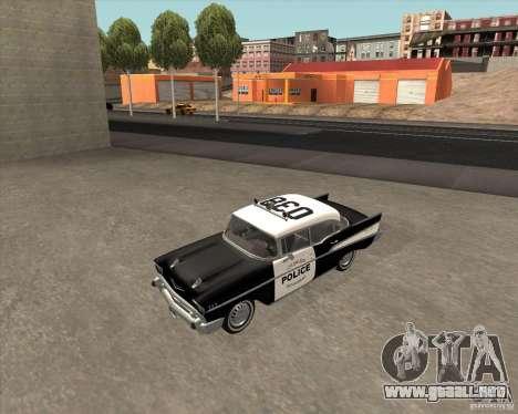 Chevrolet BelAir Police 1957 para vista lateral GTA San Andreas