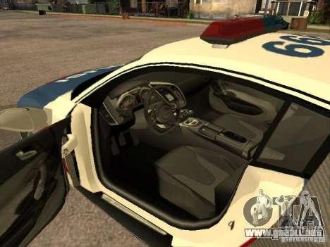 Audi R8 Police Indonesia para GTA San Andreas vista posterior izquierda