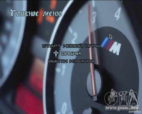 En el menú de video de fondo para GTA San Andreas sucesivamente de pantalla