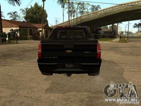 Chevrolet Avalanche Police para la visión correcta GTA San Andreas