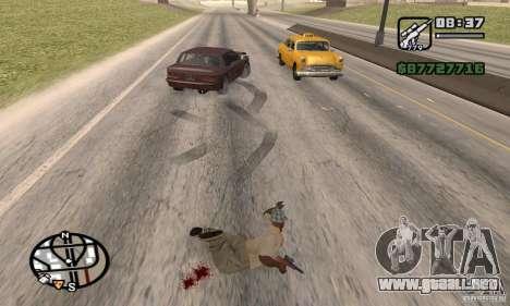 La pérdida de vidas en el accidente para GTA San Andreas sucesivamente de pantalla