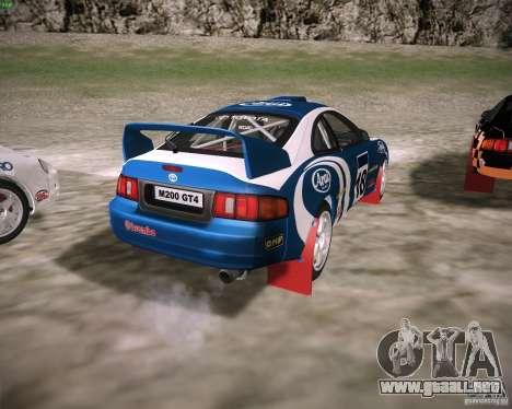Toyota Celica ST-205 GT-Four Rally para GTA San Andreas vista posterior izquierda
