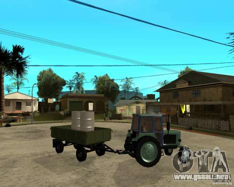 Tractor Belarus 80.1 y remolque para vista lateral GTA San Andreas