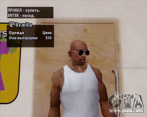 Gafas de sol aviador negro para GTA San Andreas quinta pantalla