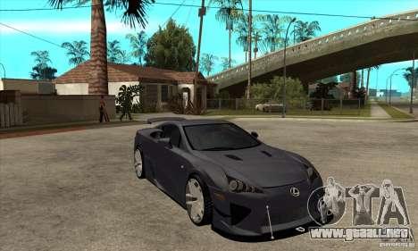 Lexus LFA 2010 v2 para GTA San Andreas vista hacia atrás
