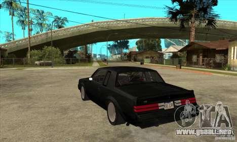Buick Regal Grand National GNX para GTA San Andreas vista posterior izquierda