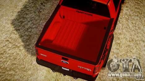Ford F150 SVT Raptor 2011 para GTA 4 vista desde abajo