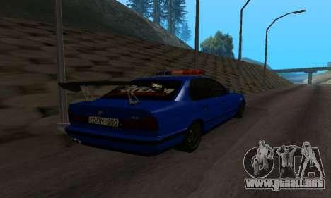 BMW M5 POLICE para GTA San Andreas vista posterior izquierda