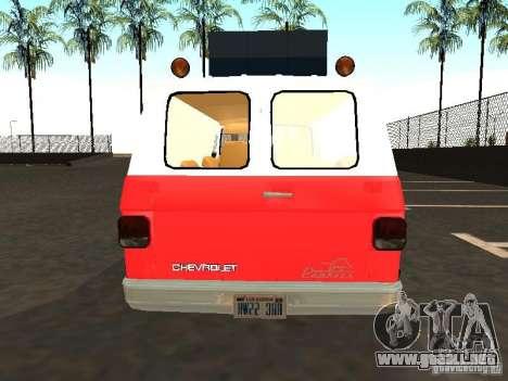 Chevrolet Van G20 LAFD para la visión correcta GTA San Andreas